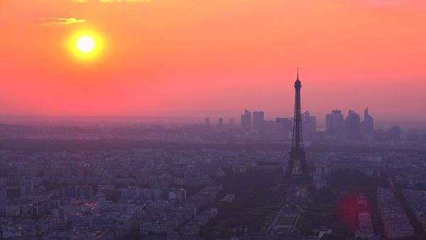 Gorgeous high angle view of the Eiffel Tower and Paris at sunset. Royalty-free stock video