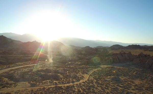 An aerial sunset shot over the Alabama Hills outside Lone Pine California with Mt. Whitney and Sierras background. Royalty-free stock video