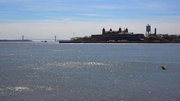 A distant view of Ellis Island in new York harbor.immigrants from Ellis Island. Royalty-free stock video
