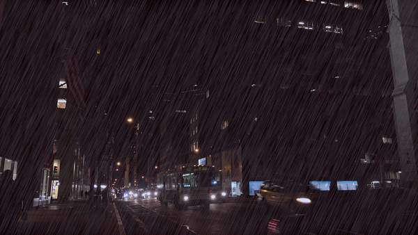 Traffic moves along New York's Fifth Ave. at night during a major rainstorm. Royalty-free stock video