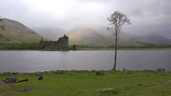The Kilchurn Castle on Loch Awe, Scotland in fog. Royalty-free stock video