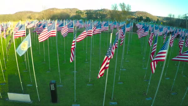 An aerial over a display of American flags honors America's veterans. Royalty-free stock video