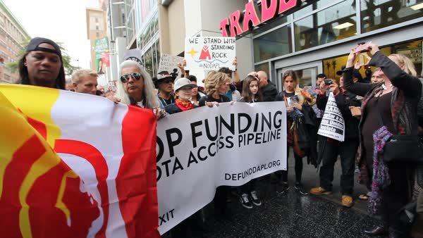 Jane Fonda leads protestors in Hollywood marching against the Dakota access pipeline. Royalty-free stock video