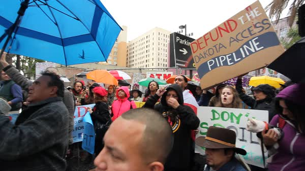 Native Americans in Hollywood marching and chanting against the Dakota access pipeline. Royalty-free stock video
