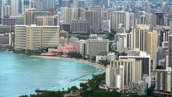 Waikiki Beach and hotels in Honolulu, Hawaii. Royalty-free stock video