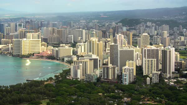 Hotels in Waikiki in Honolulu, Hawaii. Royalty-free stock video