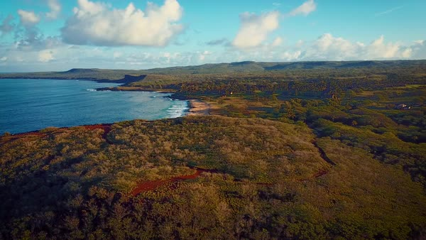 Aerial shot over Molokai Hawaii coastline and ocean. Royalty-free stock video