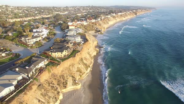 A beautiful aerial above the California coastline north of San Diego. Royalty-free stock video