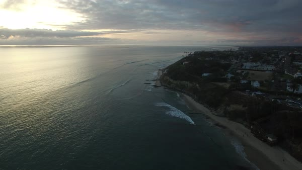 A beautiful aerial above the along the California coastline north of San Diego. Royalty-free stock video