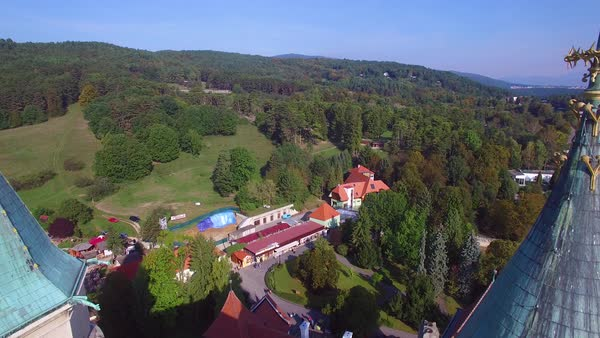A beautiful aerial establishing view over the rooftops of the romantic Bojnice Castle in Slovakia. Royalty-free stock video