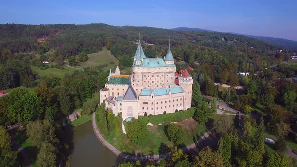 A beautiful aerial view of the romantic Bojnice Castle in Slovakia. Royalty-free stock video