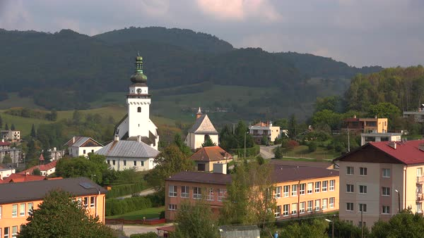 Establishing shot of a classic Eastern European village in Slovakia. Royalty-free stock video