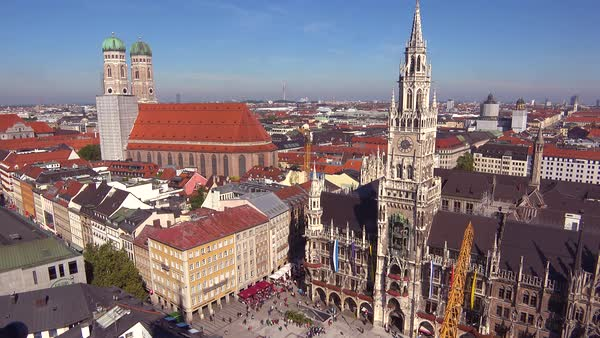High angle classic establishing shot of the skyline of Munich Germany. Royalty-free stock video