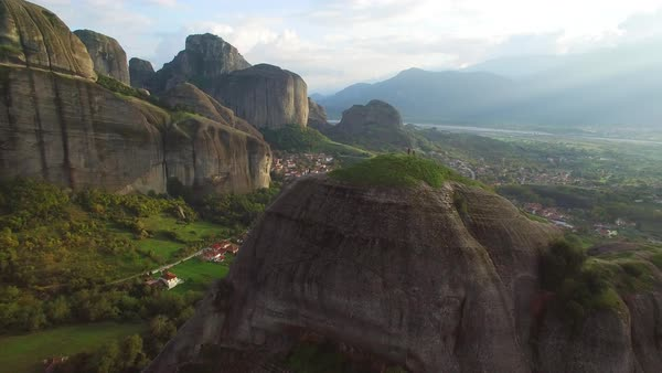 Beautiful aerial over the rock formations of Meteora, Greece. Royalty-free stock video