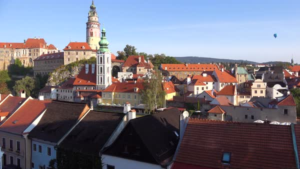 Establishing shot of Cesky Krumlov, a lovely small village in the Czech Republic. Royalty-free stock video