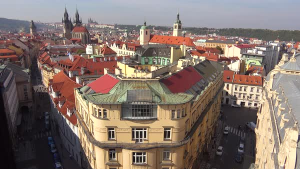 High angle view over the rooftops of Prague, Czech Republic. Royalty-free stock video