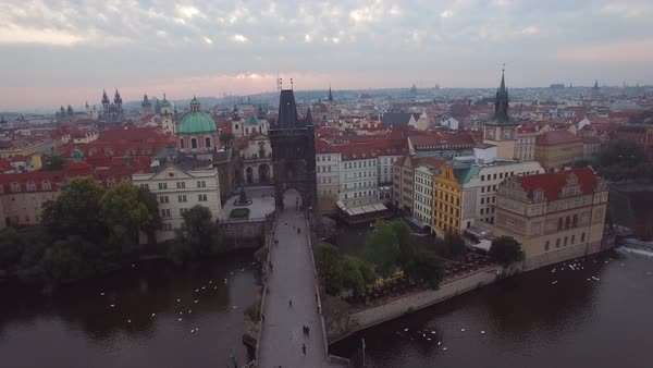 A high aerial over Prague, Czech Republic and the Charles Bridge. Royalty-free stock video
