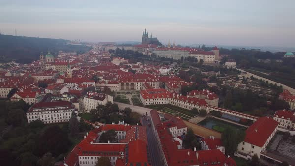 A high aerial over Prague, Czech Republic. Royalty-free stock video