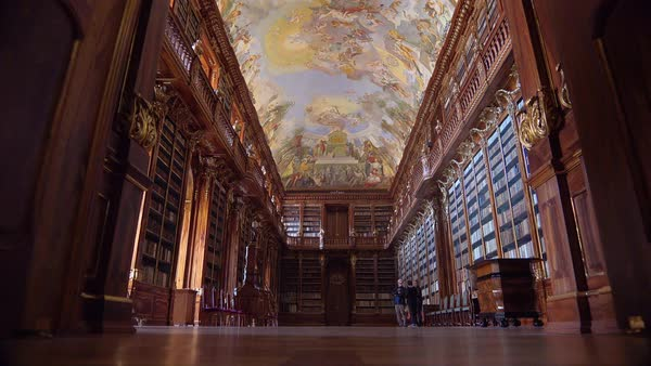 The Strahov Monastery in Prague, Czech Republic includes one of the world's most beautiful ancient libraries. Royalty-free stock video