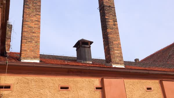 Chimneys at the Terezin Nazi concentration camp in Czech Republic. Royalty-free stock video