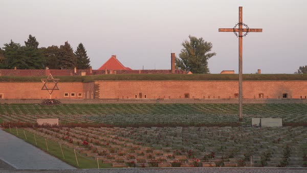 Christian and Jewish cemetery memorial at the Terezin Nazi concentration camp in Czech Republic. Royalty-free stock video