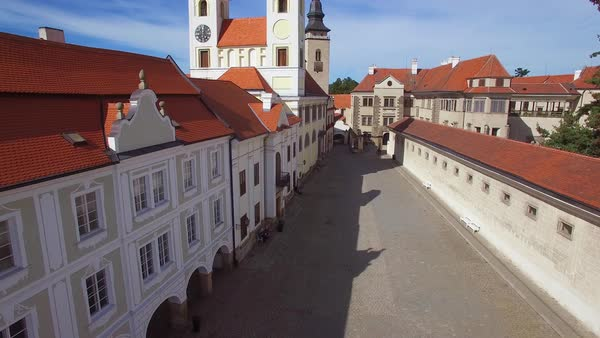 A rising aerial over the quaint village of Telc in the Czech Republic. Royalty-free stock video