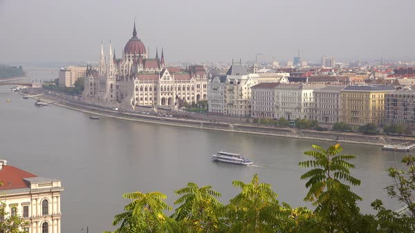 Budapest Hungary and Parliament along the Danube River. Royalty-free stock video