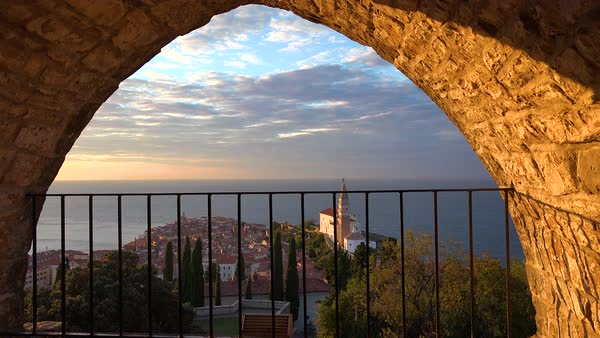 The attractive town of Piran, Slovenia on the Adriatic Sea at sunset. Royalty-free stock video