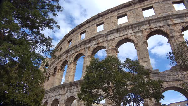 View looking up at the remarkable amphitheater in Pula, Croatia. Royalty-free stock video