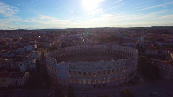 Stunning aerial view of the remarkable Roman amphitheater in Pula, Croatia. Royalty-free stock video