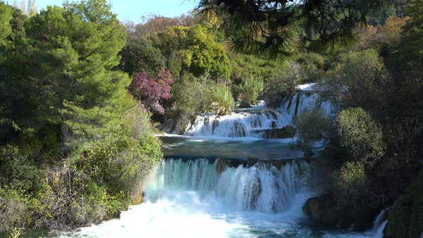 Beautiful waterfalls flow through the mountains of Croatia. Royalty-free stock video