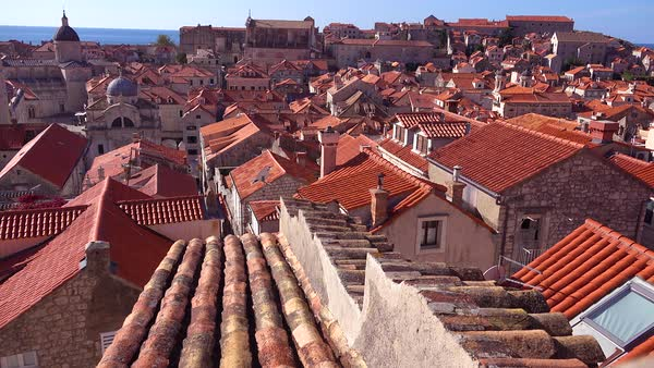 Beautiful view over the red tiled roofs of the old city of Dubrovnik, Croatia. Royalty-free stock video