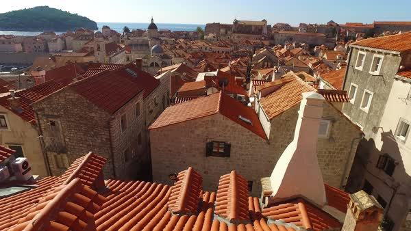Beautiful traveling view over the old city of Dubrovnik, Croatia. Royalty-free stock video