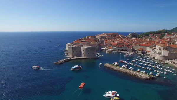 Aerial view over the old city of Dubrovnik, Croatia. Royalty-free stock video