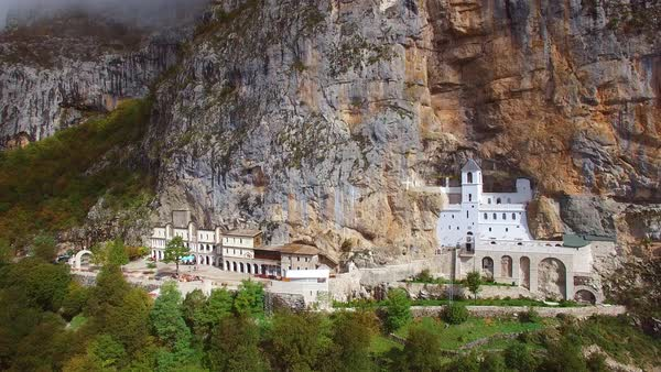 Beautiful aerial of the Ostrog monastery in Montenegro. Royalty-free stock video