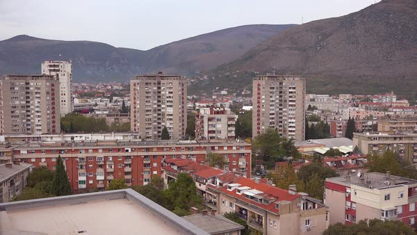 Old buildings and apartments define the skyline of Mostar in Bosnia. Royalty-free stock video