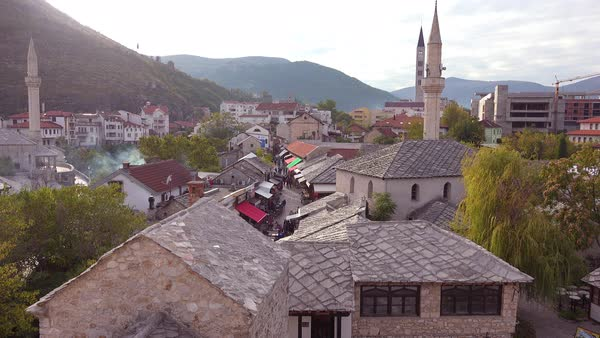 Establishing shot of the old city of Mostar, Bosnia Herzegovina. Royalty-free stock video