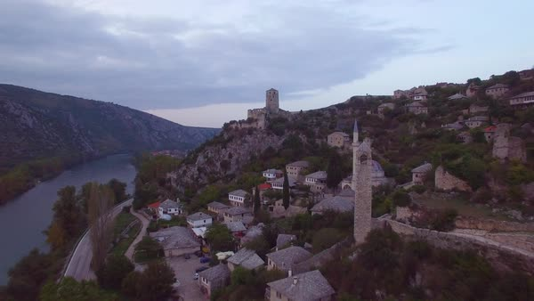 Beautiful aerial over a village in Bosnia Herzegovina. Royalty-free stock video
