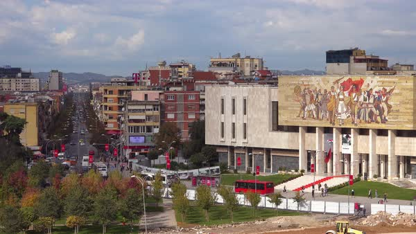 A view of downtown Tirana, Albania includes the museum and revolutionary Communist mural. Royalty-free stock video