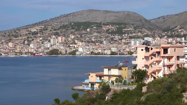 Establishing shot of the town of Sarande on the coast of Albania. Royalty-free stock video