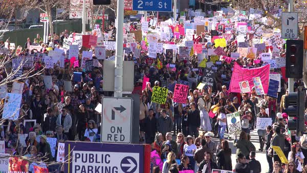 Hundreds of thousands march to protest the presidency of Donald Trump in Los Angeles, California. Royalty-free stock video