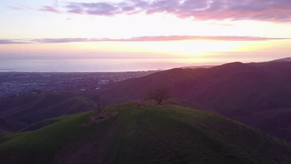 A nice aerial shot over the Southern California mountains near Ventura, California at sunset. Royalty-free stock video