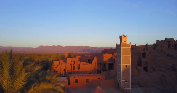 A beautiful aerial over casbah palace in the desert in Morocco. Royalty-free stock video