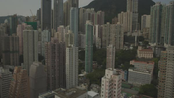 Aerial shot of high-rise apartment buildings in Hong Kong Royalty-free stock video