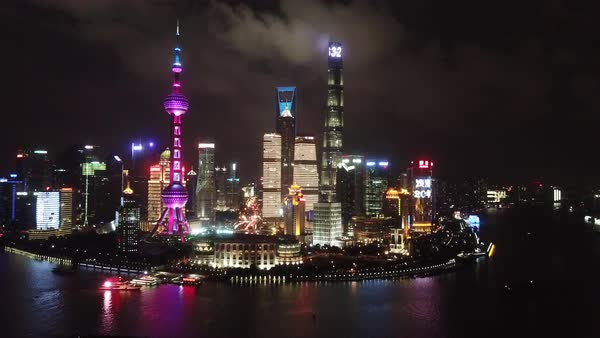 Aerial shot of skyscrapers in downtown Shanghai at night Royalty-free stock video