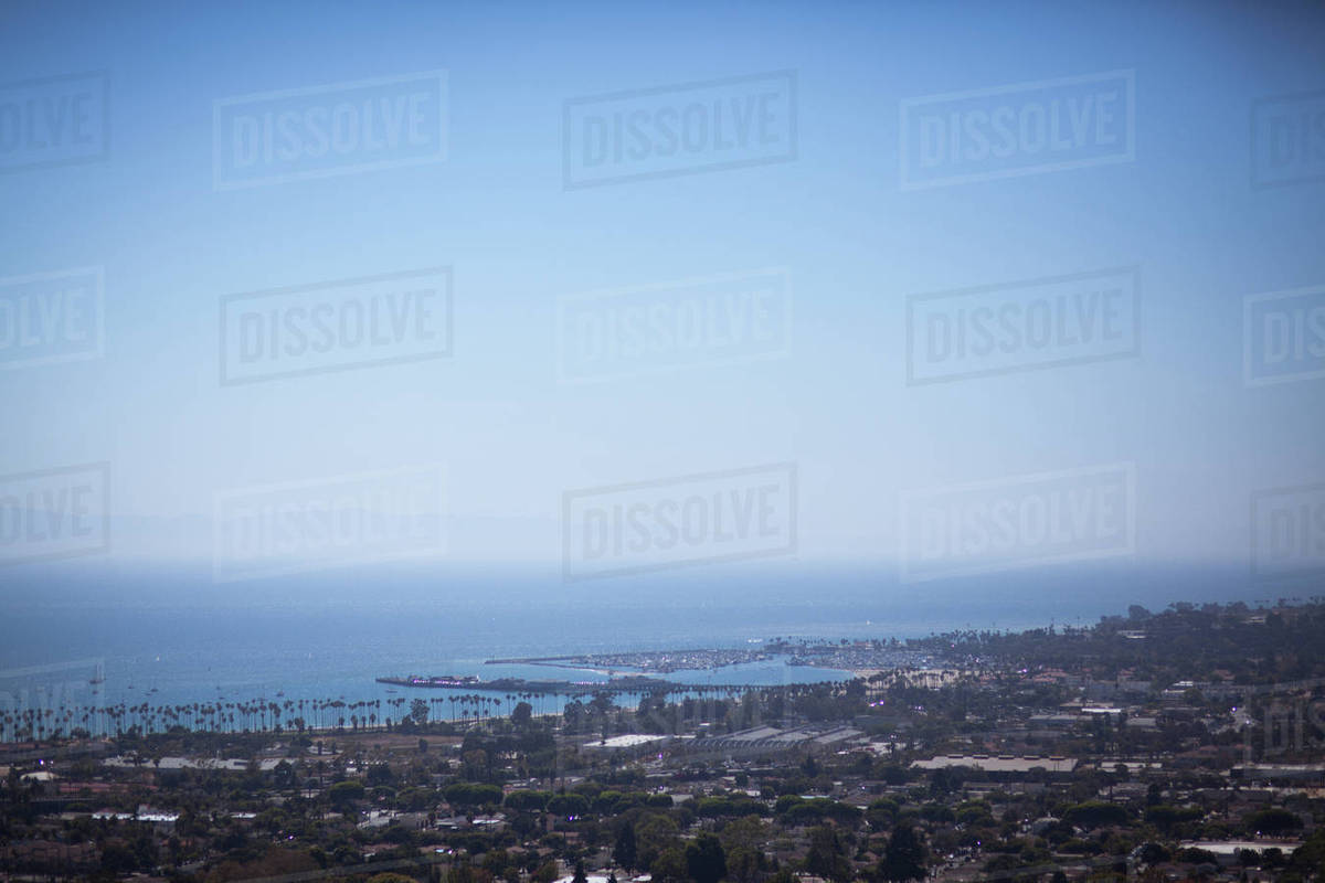 View of city near ocean in background Royalty-free stock photo