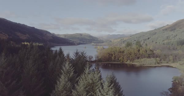 Aerial of of Loch Chon in the Trossachs near Loch Lomond, Scotland Royalty-free stock video