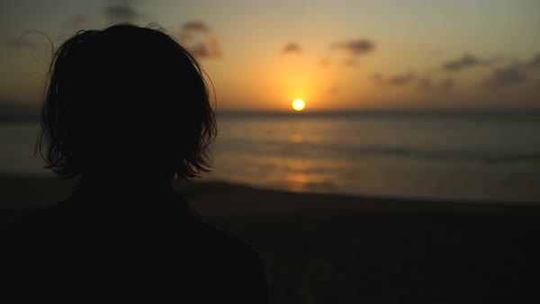 Hand-held shot of a woman looking away from sunset Royalty-free stock video