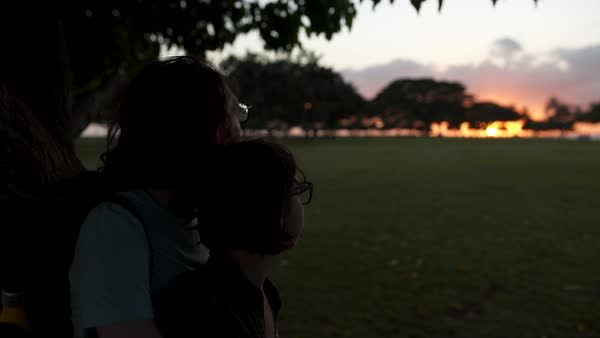 Hand-held shot of a couple looking at sunset Royalty-free stock video