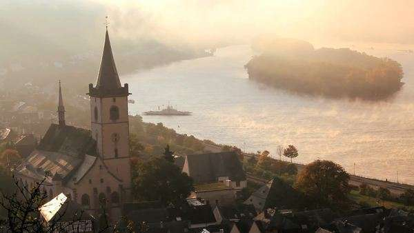 Car ferry in the early morning mist, Lorch, Rhine Valley, Germany Royalty-free stock video